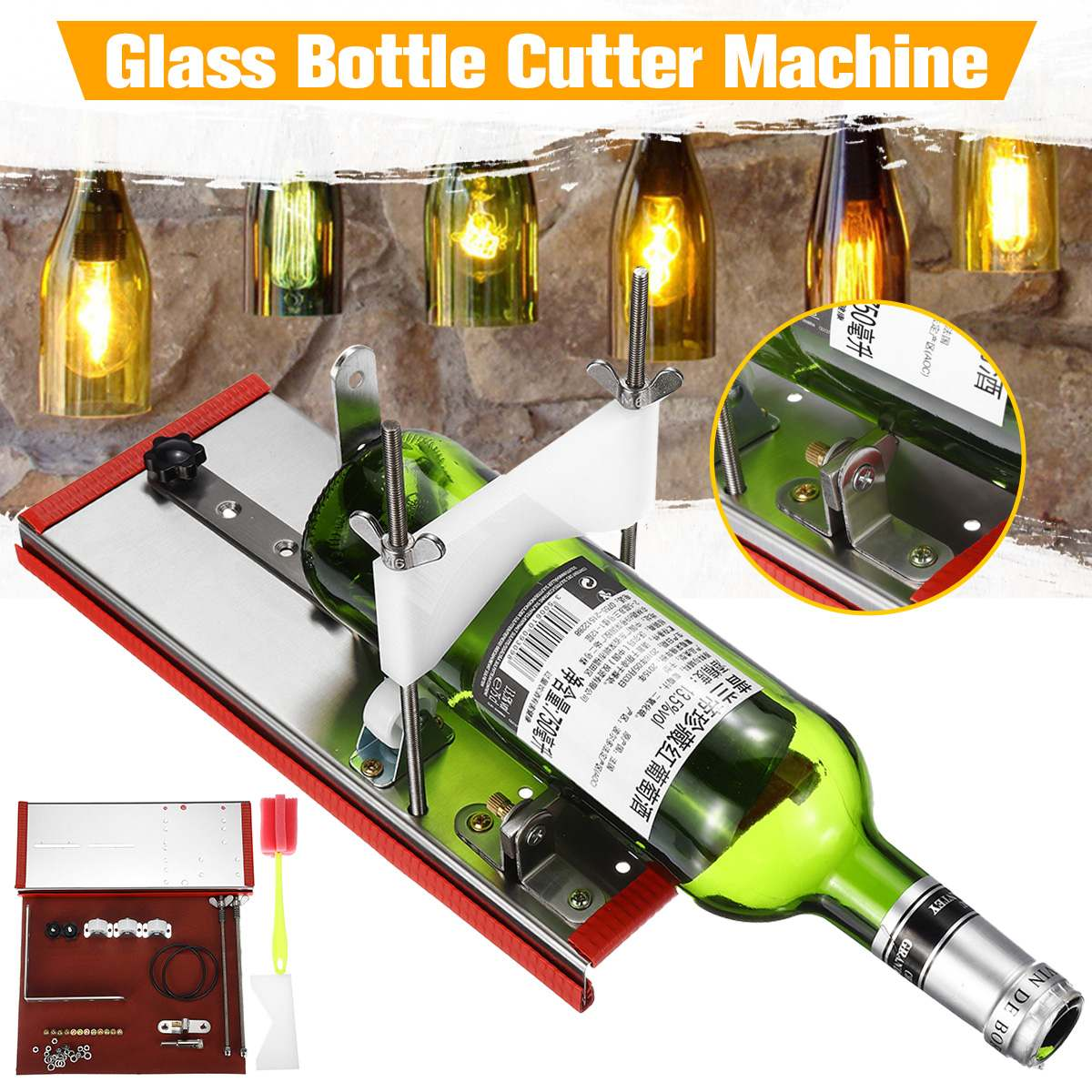 Glass Bottle Cutter Cutting Thickness 2-10mm Accurate Cutting Better Cutting Control DIY Recycle Cutting Tool Kit