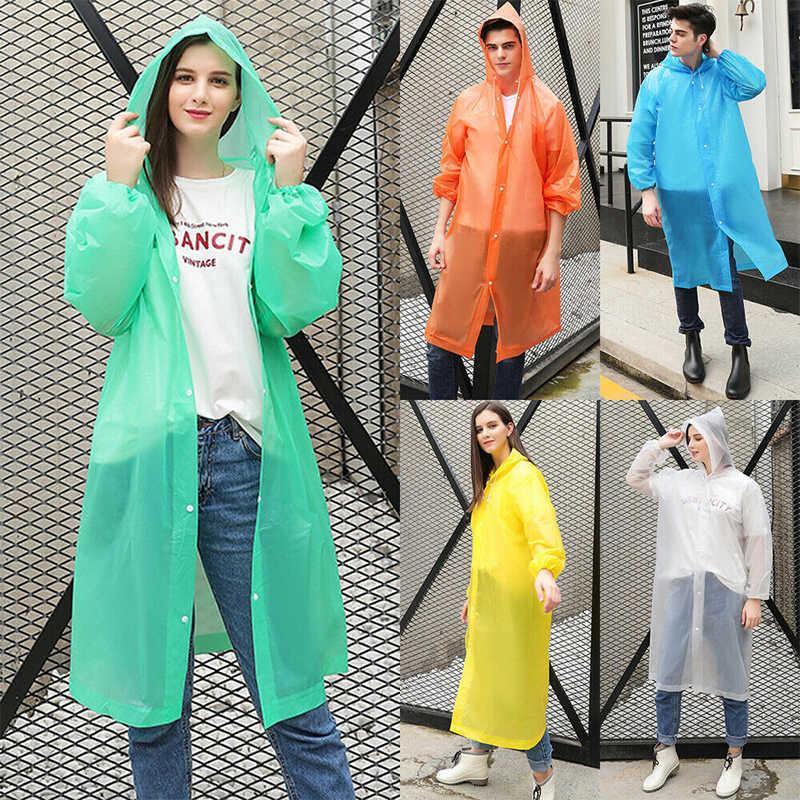 เสื้อกันฝนผู้ชายผู้หญิงเด็กกันน้ำ PE เสื้อกันฝน Rain Coat Poncho Rainwear แฟชั่น EVA ใส Rain Coat