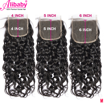 """Water Wave 5x5 Lace Closure With Baby Hair Brazilian Remy 4x4 6x6 7x7 Human Hair Closure Free Part Natural Color 8""""-22"""""""