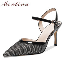 Meotina High Heels Women Pumps Natiral Genuine Leather Thin High Heel Party Shoes Buckle Pointed Toe Shoes Ladies New Size 33-39 stylesowner 2018 new arrival soft genuine leather women pumps sexy buckle strap pointed toe super high thin heels party shoes