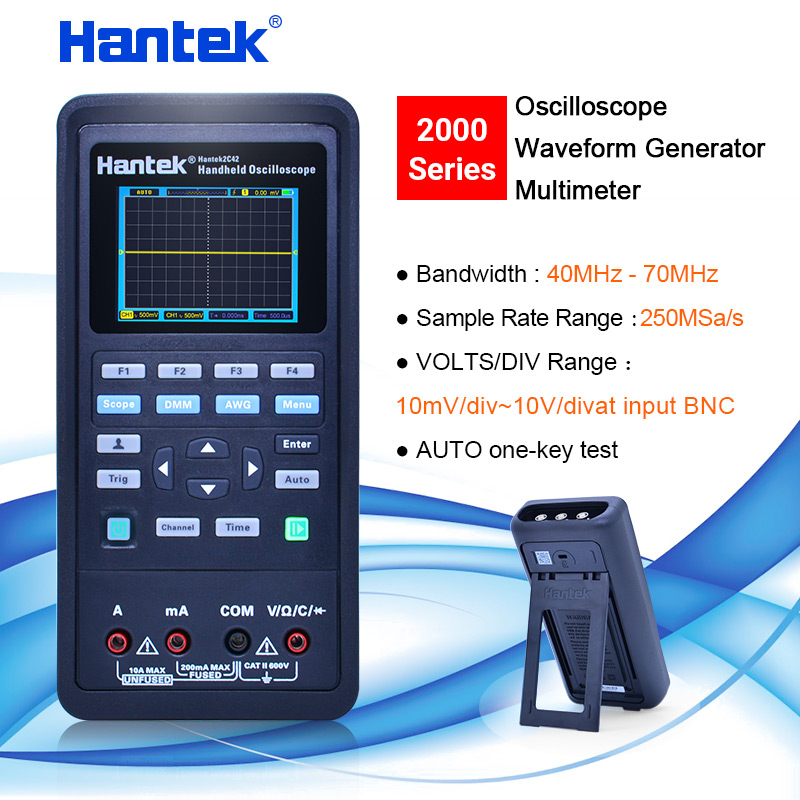 <font><b>Hantek</b></font> <font><b>Oscilloscope</b></font> multimeter handheld+Waveform Generator 3 in 1 <font><b>oscilloscope</b></font> automotive USB 2 Channels <font><b>40mhz</b></font> 70mhz LCD display image