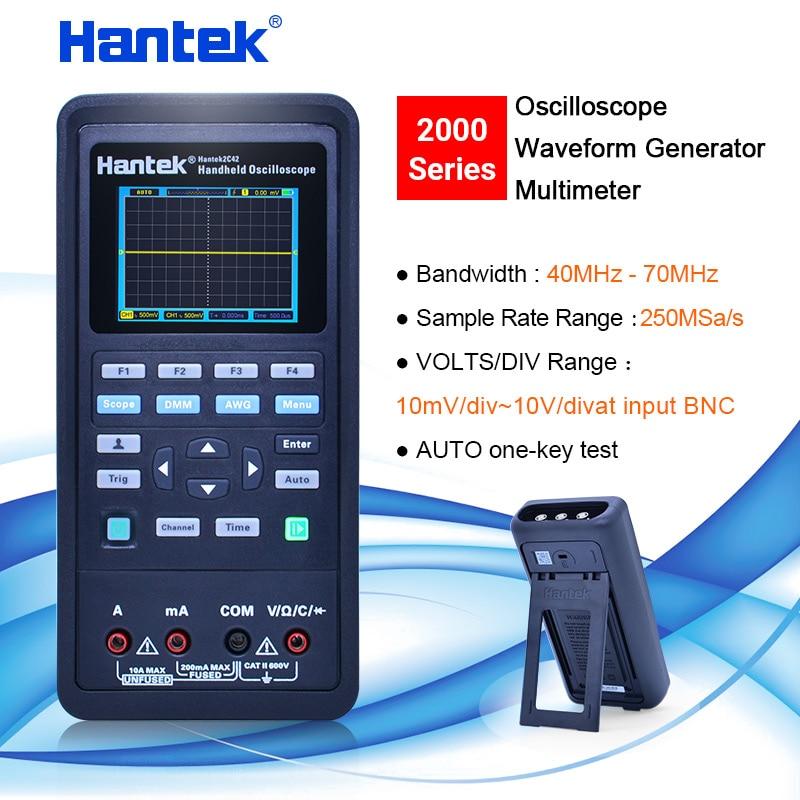 Hantek handheld Osciloscópio multímetro + Gerador de forma de Onda 3 em 1 osciloscópio automotivo USB 2 Canais mhz 70 40mhz LCD exibição
