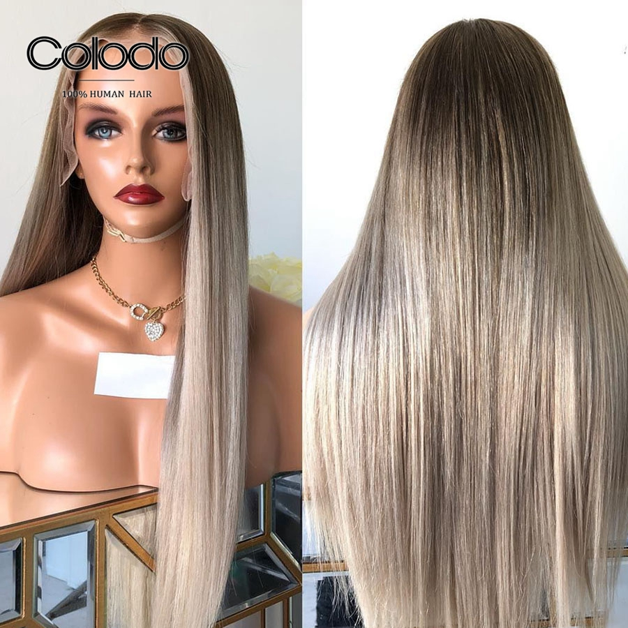 COLODO Brazilian Remy Hair Preplucked Ash Blonde Lace Front Wig With Baby Hair Ombre Straight Human Hair Wigs For Black Women