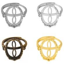 Fitting 16x12mm Oval Glass Cabochon Adjustable Base Bezel Base Setting Ring Blanks For DIY Making hot sale rhinestone bezel setting heart shape ring