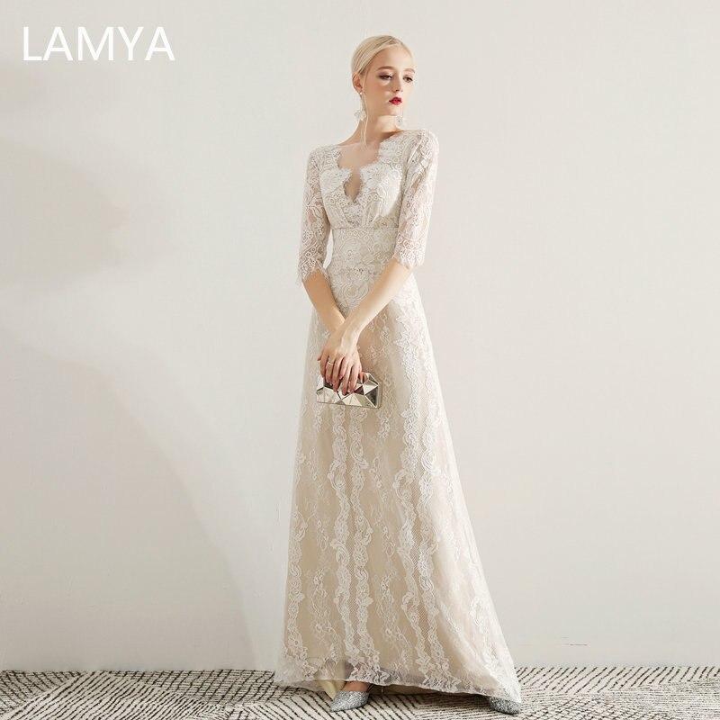 LAMYA Women Elegant Lace Long A Line   Evening     Dress   Half Sleeve Prom Party   Dresses   Plus Size Backless   Evening   Gown Robe De Soiree