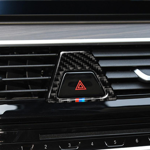 Image 5 - Carbon Fiber M Style Warning Light Button Covers Decal Decoration Car Interior Sticker for BMW 5 Series G30 G38 528i 530i 2018