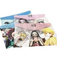 1Pc Anime Demon Slayer Kimetsu No Yaiba Kamado Tanjirou A4 Files Holder PVC Press Button File Bag Folder Document Organizer