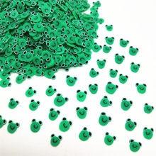 20 g/lote rana verde de arcilla de polímero rebanadas para manualidades DIY 5mm de plástico Klei barro partículas Animal arcillas