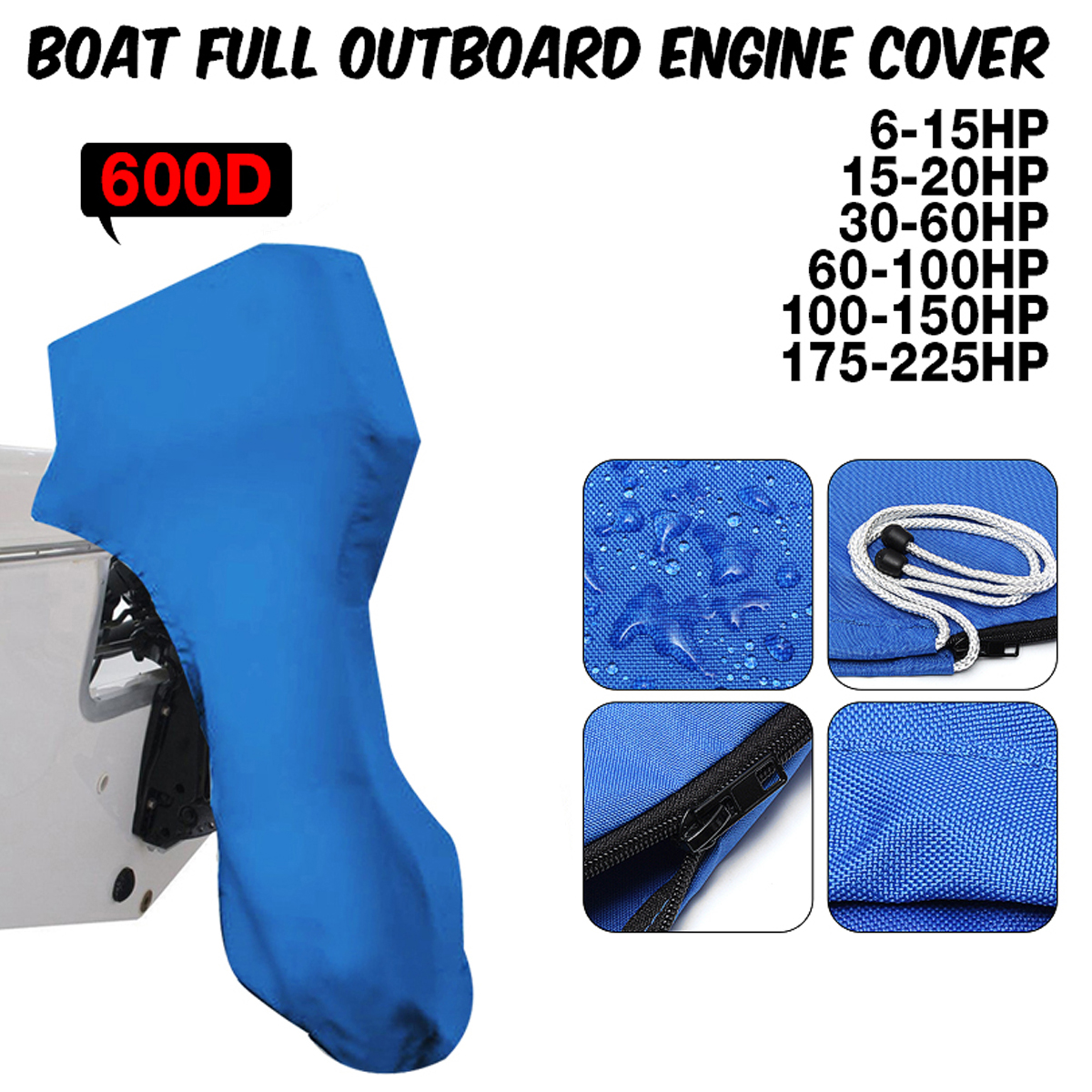 600D Boat Full Outboard Engine Cover Engine Motor Covers Protector Blue For 6-225HP Waterproof