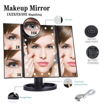 22 Light LED Touch Screen lustro do makijażu 1X 2X 3X 10X powiększające regulowane kompaktowe Vanity 3 składane lustra kosmetyki lustra tanie i dobre opinie LISM Wyposażone Plastic+ABS Podświetlany Magnifying