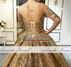 Image 4 - Amanda Novias 2020 kolekcja ciężki frezowanie praca złota suknia ślubna 100% rzeczywiste zdjęcia
