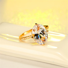 Vintage Female White Crystal Stone Ring Luxury Gold Silver Thin Wedding Rings For Women Minimalist Bridal Oval Engagement Ring gorgeous faux crystal oval bracelet with ring for women