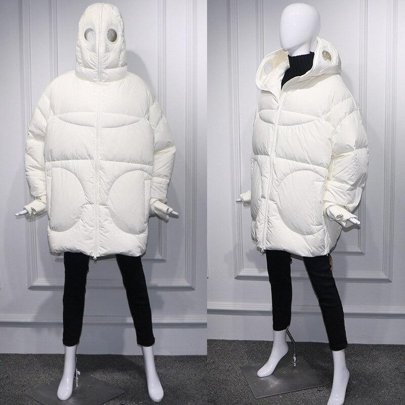Plus Größe Frauen Jacke Winter Mantel Frauen Lose Parka Gesicht Kappe Kapuze Dicken Parka Weiß Schwarz Lustige Persönlichkeit Alien Mantel XX58 - 6