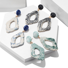 Fashion Geometric Irregular Earrings Natural Rock Pendant Hollow Resin Ladies Big Crystal