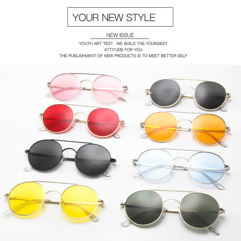 2019 Fashion Kacamata Wanita Pria Merek Oval Designe Kecil Bingkai Logam Steampunk Retro Berjemur Kacamata Perempuan Oculos De Sol UV400