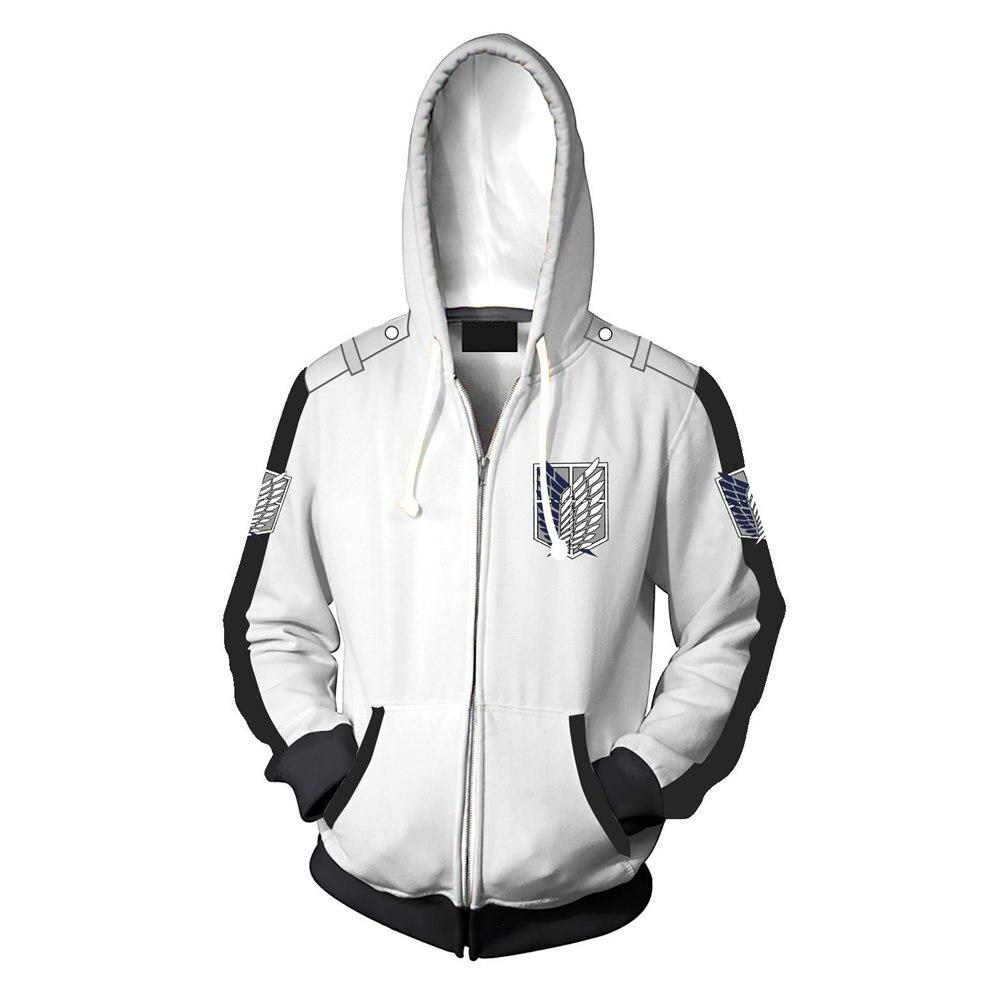 Chaud Anime attaque sur Titan Qigh qualité Cosplay Costume blanc/gris à capuche Scouting légion Wei vêtements veste à capuche unisexe