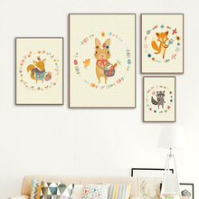Fox Squirrel Raccoon Rabbit Wall Art Canvas Painting Nursery Nordic Posters And Prints Animal Pictures Baby Kids Room Decor