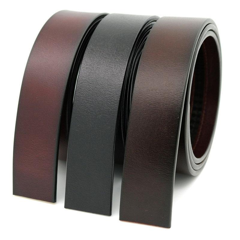 3.5cm Width Genuine Leather Belt No Buckle Designer Belts Men High Quality Leather Strap For Automatic Buckle