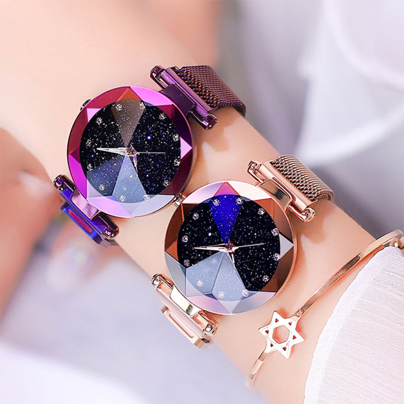 Luxury Ladies Watch Magnet Stainless Steel Mesh With Starry Fashion Diamond Female Luminous Shining Quartz Watch Relogio Feminin