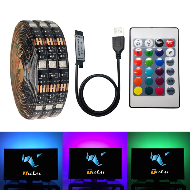 DC 5V USB RGB LED Strip Light DC 5V No Battery LED Strip Light TV RGB 0.5m 2m 3key 24key Remote Control Flexible Tape Adhesive