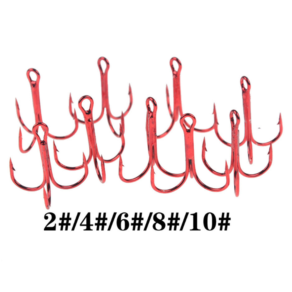 10pcs/lot 2# 4# 6# 8# 10# Fishing Hooks High Carbon Steel Material Treble Hook Fishing Tackle Round Bent Red Color Fishing Tools