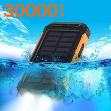 30000mAh Solar Power Bank Portable Dual USB with SOS LED Charger Travel Waterproof Powerbank for All Phone of All Over The World cheap ALLPOWERS Li-polymer Battery with Solar Panel with Flashlight Double USB for Tablet for Drones for Camera for Smartphone