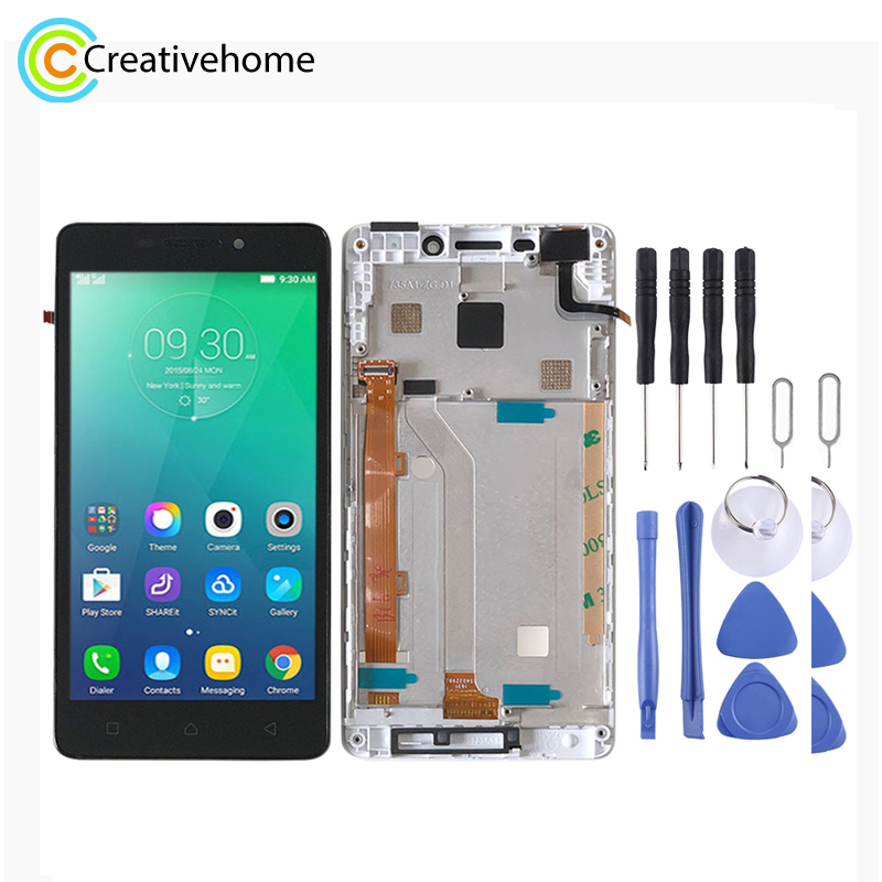 LCD Screen and Digitizer Full Assembly with Frame for Lenovo Vibe P1m <font><b>P1ma40</b></font> P1mc50(White) image