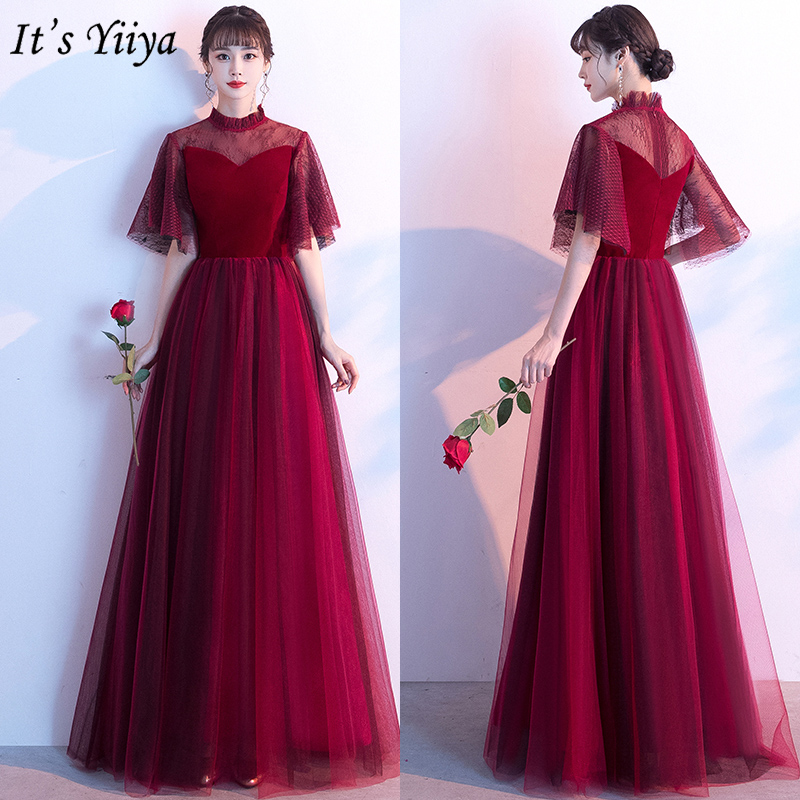 It's Yiiya Evening Dress Burgundy High Collar Elegant Formal Gowns Long Plus Size Evening Dresses Zipper Robe De Soiree LF170