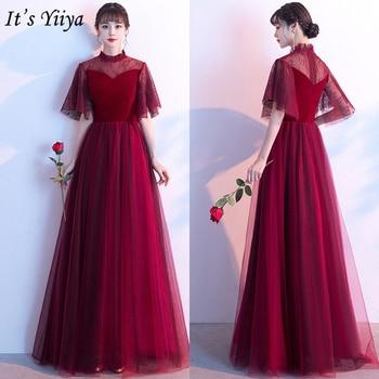 It's Yiiya Evening Dress Burgundy High Collar Elegant Formal Gowns Long Plus Size Evening Dresses Zipper robe de soiree LF170