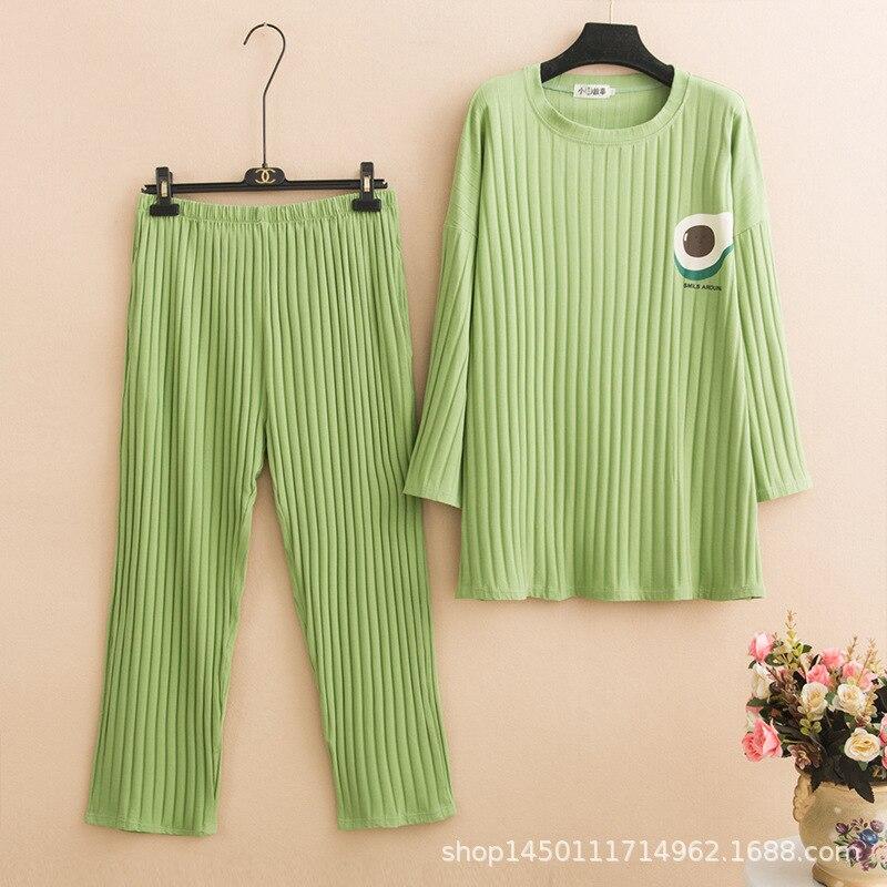4xl 5xl Plus Size Pajamas Women Cotton Sleepwear Winter Pijama Women Round Neck Night Suit Solid Warm Pyjama Set Home Clothes