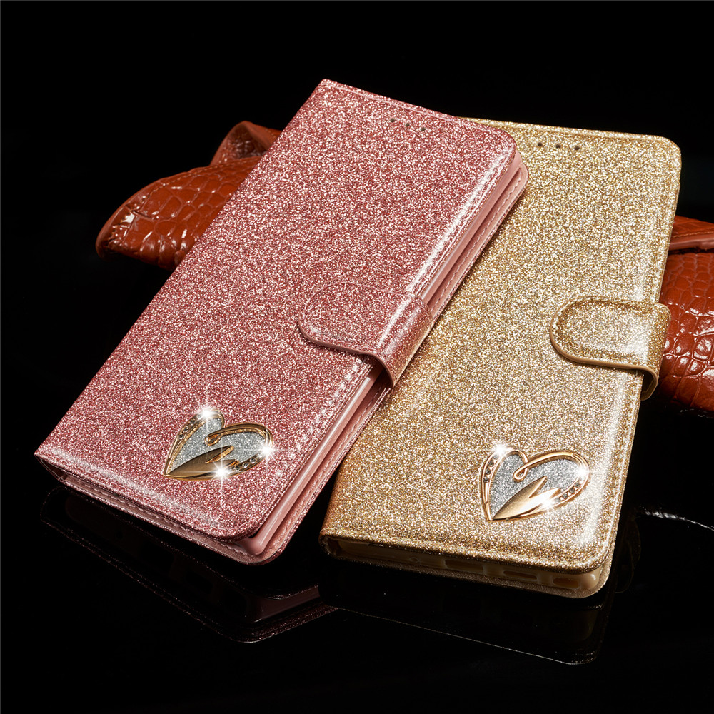 Love Case For Samsung Galaxy S10 Plus S10E S8 S9 S7 Edge Glitter Bling Leather Flip Case For Samsung Note 10 Plus S 9 8 10Plus image