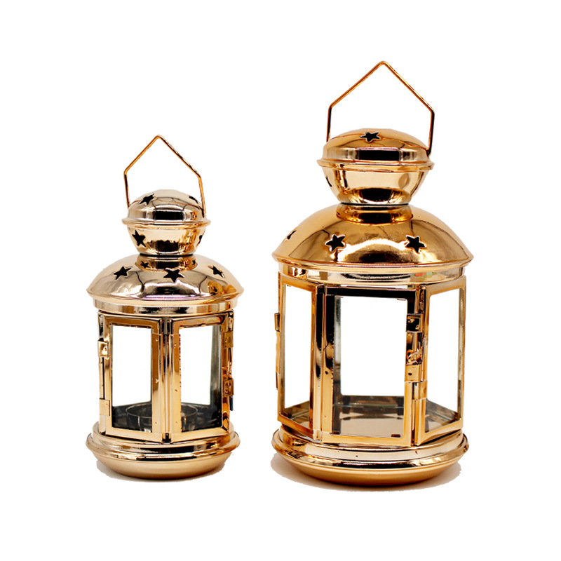 Gold Candles Stand Candle Holder Iron Plated Lantern Home Decoration Accessories Romantic Candle Candlesticks 50XX092 in Candle Holders from Home Garden