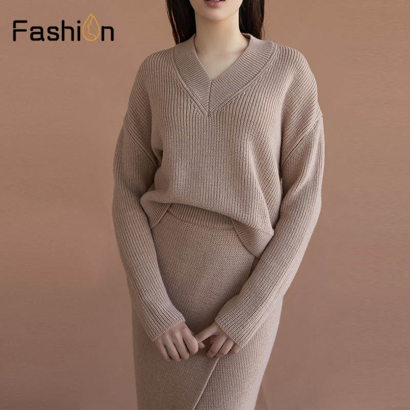Women's Sweater Suits Two Piece Sets V-neck Long Sleeve Knitted Sweaters+Knitted Skirt Sets Winter Costume Tracksuit Outfits