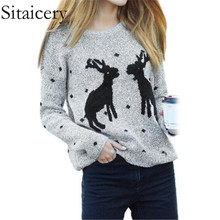 Sitaicery 2019 Womens Sweater And Pullovers Autumn Winter Long Sleeve Pull Femme Pullover Female Christmas