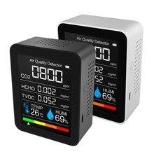 Medidor de co2 digital sensor umidade temperatura testador qualidade do ar monitor dióxido carbono tvoc formaldeído hcho detector