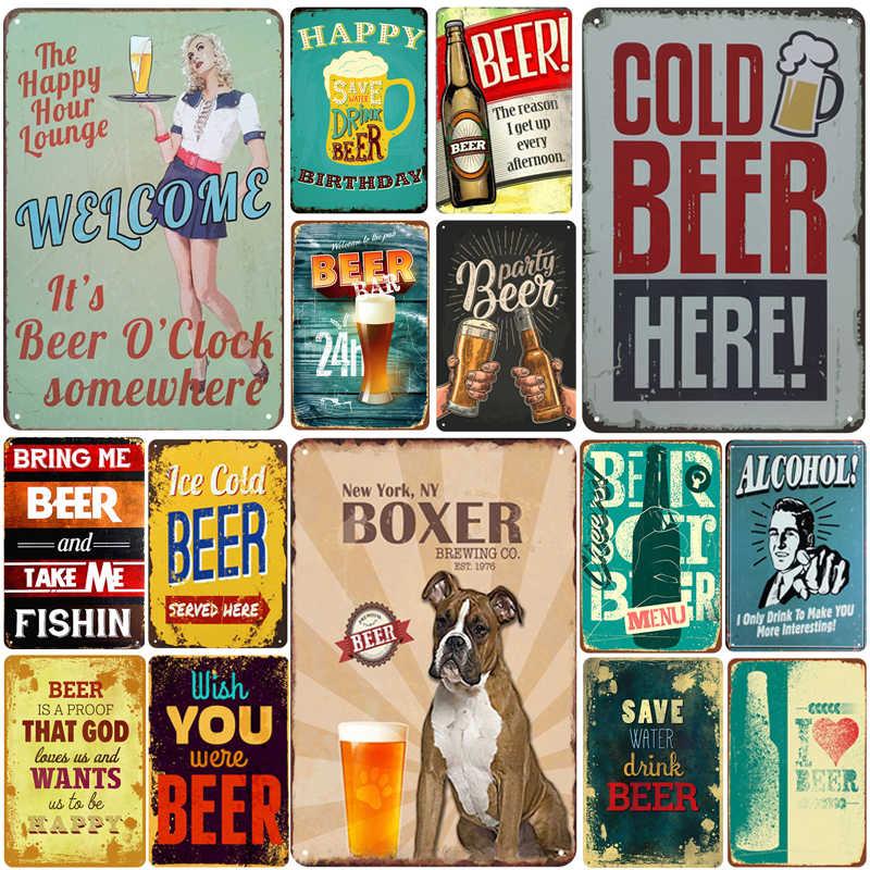 Bir Plakat Logam Vintage Tanda Timah Pin Up Lusuh Chic Dekorasi Tanda Logam Vintage Bar Dekorasi Logam Poster Pub Logam piring