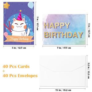 Image 4 - 40PCS Birthday Cards with 40PCS Envelopes Creative Birthday Cards Bulk Box Set Party Supplies