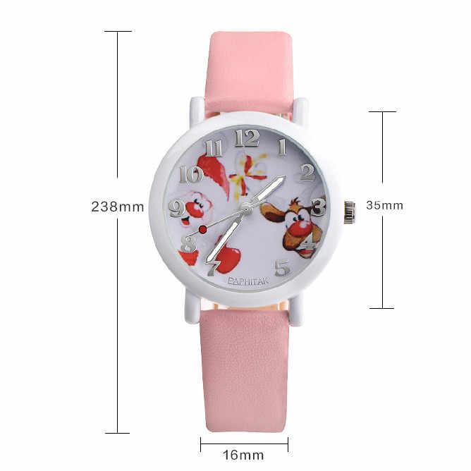 Relógio estudante de moda infantil Papai Noel alce grande digital analógico pulseira de couro relógio de quartzo do presente do feriado детские часы 50 *
