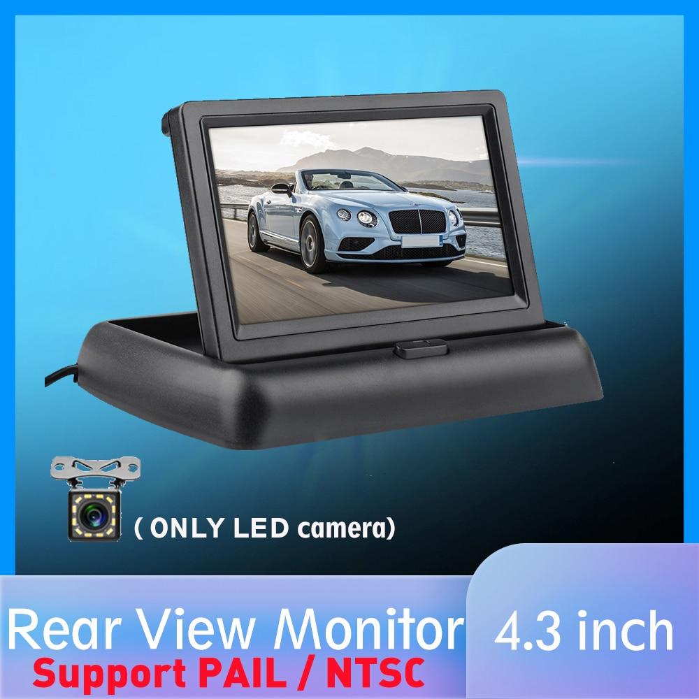4.3'' HD Foldable Car Rear View Monitor Reversing LCD TFT Display Night Vision Backup Rearview Camera PAIL/NTSC for Vehicle