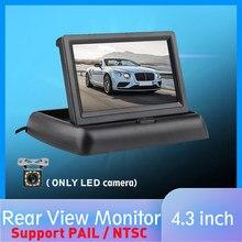 Moniteur de vue arrière de voiture pliable HD 4.3 pouces, écran LCD TFT de recul, caméra de sauvegarde de Vision nocturne, seau/NTSC pour véhicule