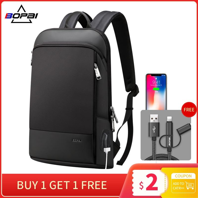 BOPAI Updated Version Super Slim Laptop Backpack USB Charging Port Men Anti Theft Backpack Waterproof College Backpack
