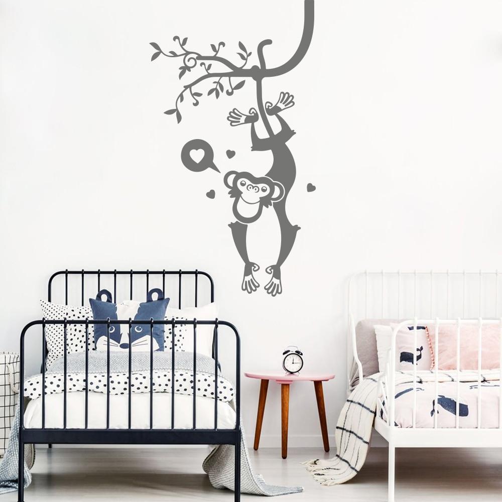 Vinyl Art Home Decor Cartoon Monkey Tree Safari Poster Mural Big Animal Pet Jungle Wall Sticker Game Decals W623