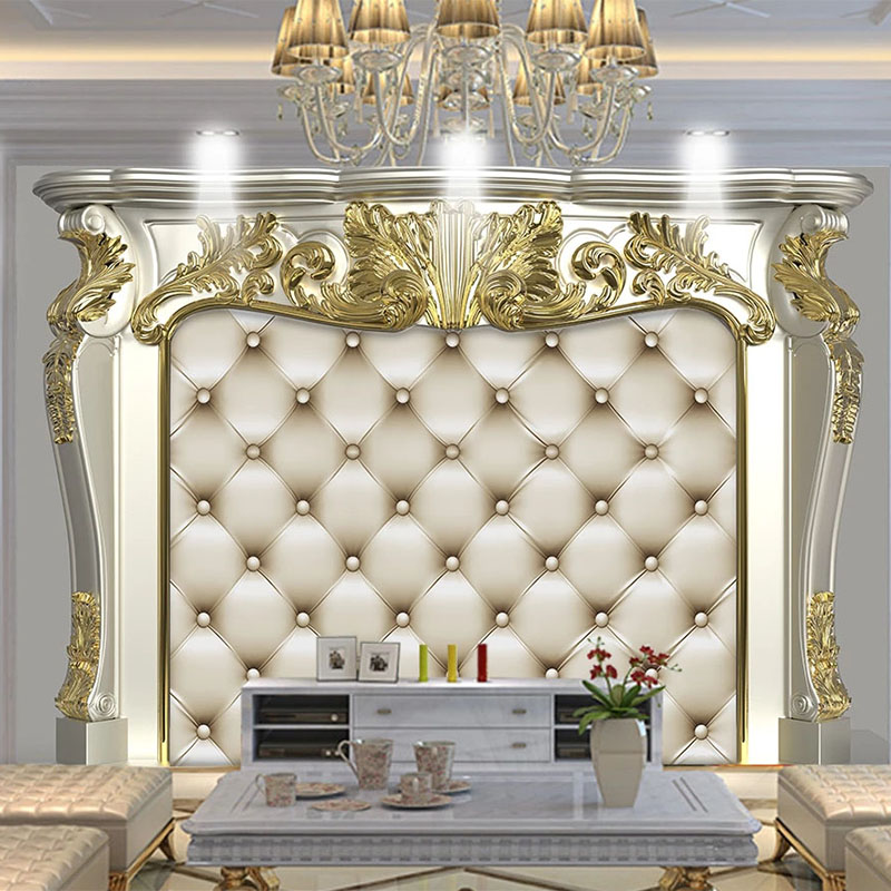 European Style 3D Golden Pattern Soft Roll Mural Wallpaper Living Room TV Sofa Bedroom Luxury Home Decor Wall Papers 3D Frescoes