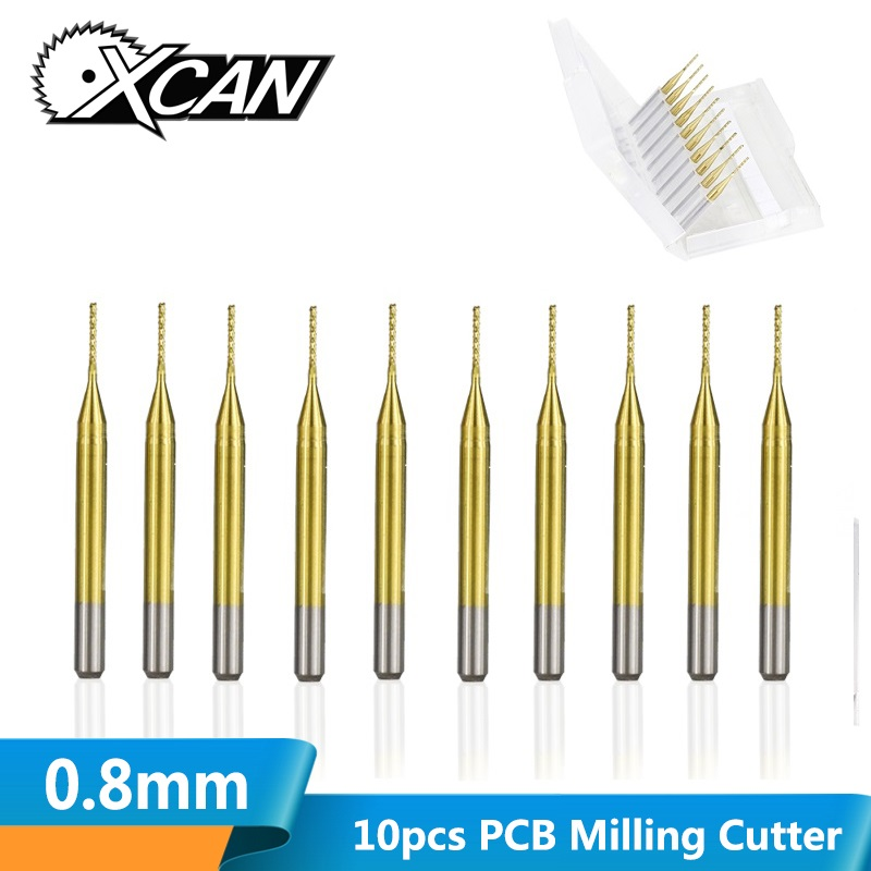 XCAN 10pcs 0.8mm Titanium Coated PCB End Mill Carbide Milling Bit End Milling Cutter For PCB Engraving Machine