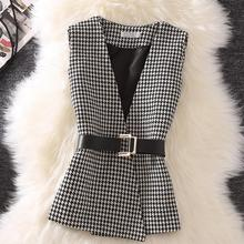 Весенне-осенний винтажный жилет без рукавов в клетку женский короткий топ с v-образным вырезом куртка