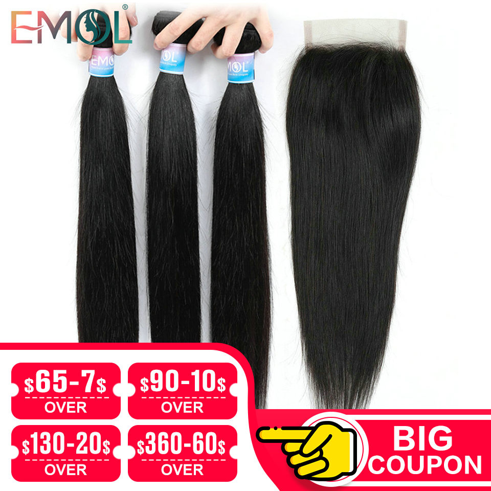 Emol Straight Hair Bundle With Closure Peruvian Hair 3/4 Bundles With Lace Closure Non-remy Human Hair Bundles