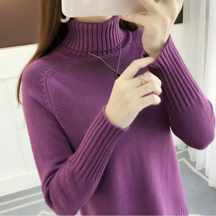 New 2019 Autumn Winter Sweater Women Korean Solid Color Turtleneck Sweater Thick Loose Solid Color Base Knit Sweater Tops