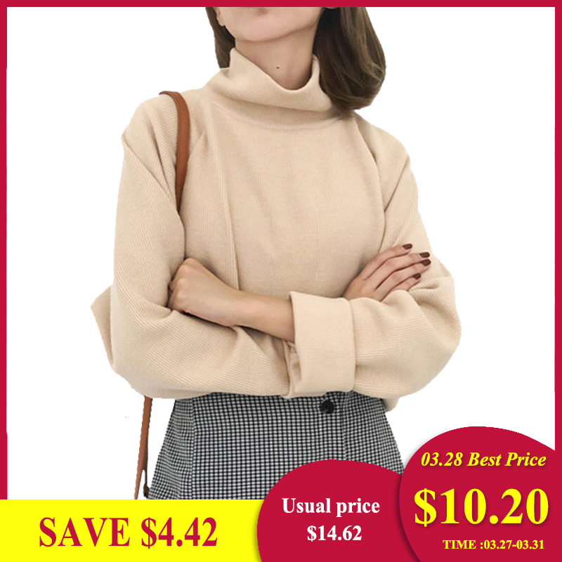 AECU11 Turtleneck Sweater Spring Fall Knitted Jumpers Women's Sweater Casual Loose Long Sleeve Jacket Crocheted Pullovers Female