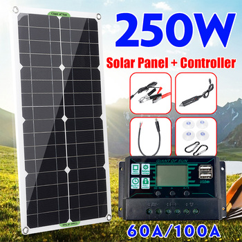 250W Solar Panel Kit Complete Dual 12/5V DC USB With 60A/100A Solar Controller Solar Cells for Car Yacht RV Battery Charger 1