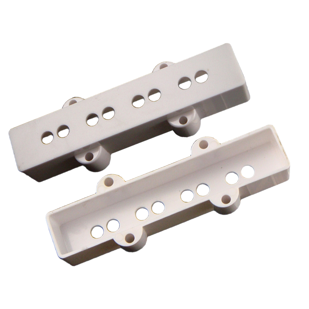 2 Pack White Open Style Jazz Bass Pickup Covers Neck&Bridge for JB Bass Replacement